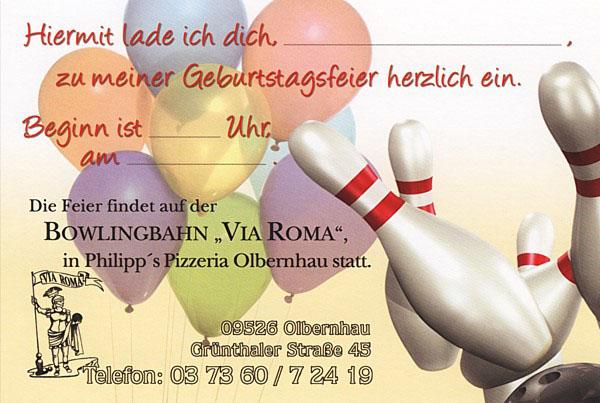Einladung Zum Bowling: Philipp's Pizzeria